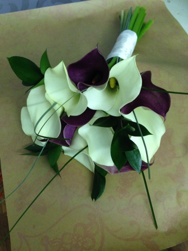 Purple & White Calla Hand Tied