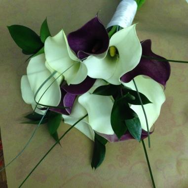 Purple & White Calla Hand Tied